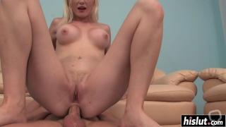 Blonde cutie has fun with a dick
