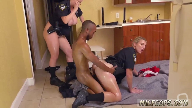 Blonde lady and uniform babe Black Male squatting in home gets our mummy officers