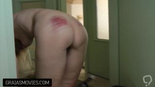 Blonde slut slapped and caned without mercy