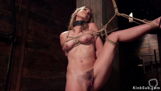 Blonde trainee in hardcore bondage sucking