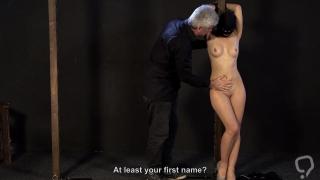 Bondage girl whipped