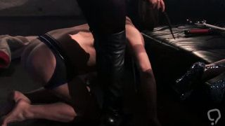 German mistress with huge tits using her slaves