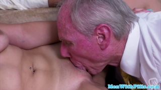 Busty 18yo babe facialized by horny old man