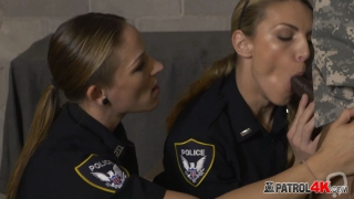 Busty blonde cop opens partner's ass to take more cock