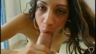 Curly hair brunette takes a huge penis inside her
