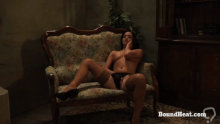 Busty Submissive Lesbian Slave Kneeling In Front Of Maid And Mistress