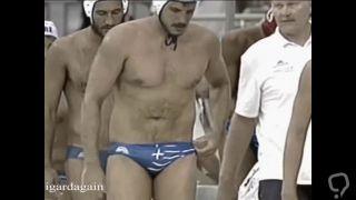 Hot swimmer grabbing twice