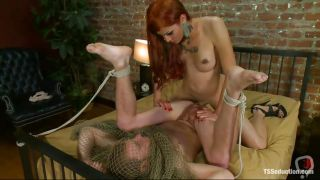 Luscious Redhead Shemale Fucking A Tied Guy