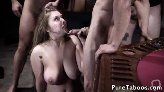 Jizzcovered bigtits babe gets gangbanged