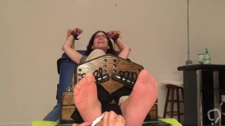 Girl from Spain tickle tortured in socks, then nylons