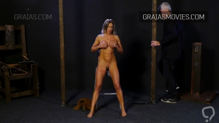 Fit girl with silicone tits in BDSM casting scene