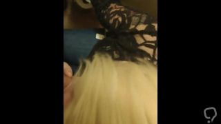 Blonde babe gives bj in bathroom during party