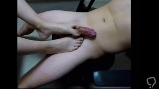 Footjob on chair and cum on soles