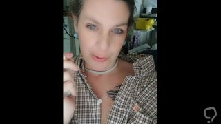 Collared Submissive Milf Smoking in Masters Shirt
