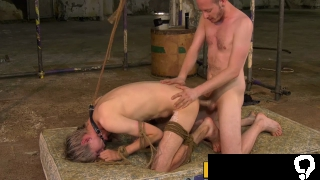 Blond bound twink has his ass anally drilled in the dungeon