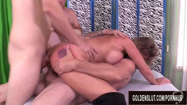 Older Slut Sky Haven Shared Between Four Men in a Wild DP Gangbang