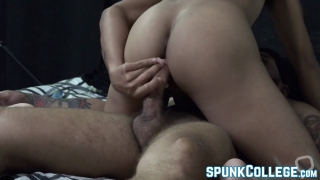 Cute Asian twink bounces on masculine dudes dick