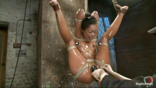 Oiled Brunette In Bondage Action