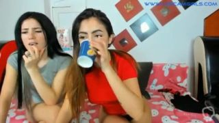 Couple of young lesbians fuck in doggystyle on webcam