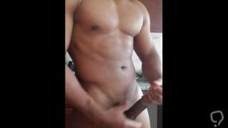 Black Muscle daddy shoots thick cum