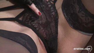 Rachel Masturbating in Sexy Stockings with HUGE Dildo