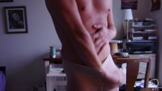 Blond Jock Boy in Panty Hose with Big Cock Blows a Load