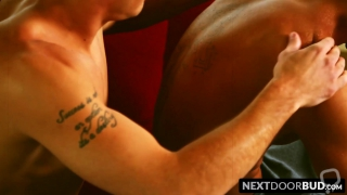 Handsome young jocks feel each others muscles before anal sex