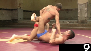 Hot inked up muscular hunks wrestle
