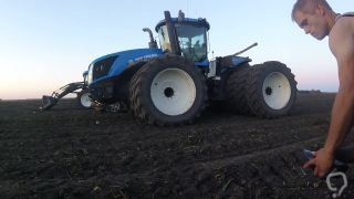 showing off in front of tractor