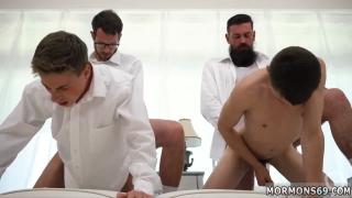 Nude groups of men gay Elders Garrett and Xanders walked through the temple together