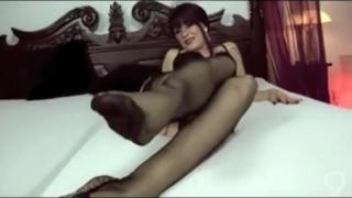 FJ in black stockings