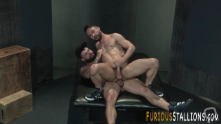 Rimmed muscled hunk rides