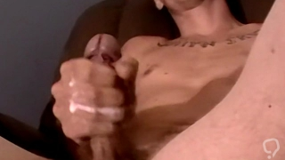 Skinny young amateur wanks off his lubed cock and cum