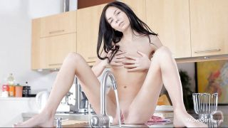 Fucking Hot Brunette Wetting Her Pussy On The Kitchen Faucet
