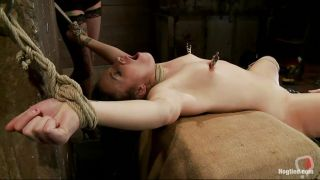 Tied Lesbian Brunette Getting Her Treatment