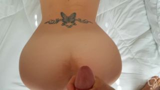POV Cum Shot on my Naughty little wife's white ass