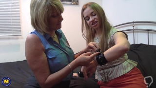 Mature mother and daughter playing lesbian game