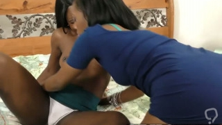 Hot black chicks play with a hitachi on their horny coochies