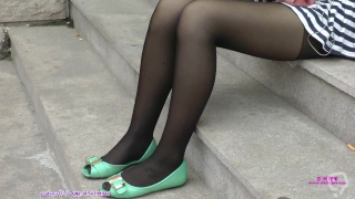 Chinese University student show her black pantyhose