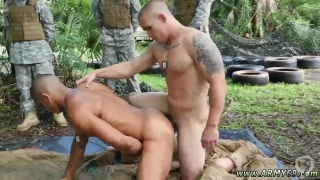 Two military guys jerk off together and black naked gay Jungle drill fest