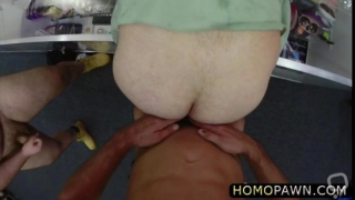Two studs assfucking straight thief in the shop and enjoys threesome