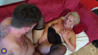 Happy and hot family sex with mature mother