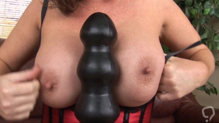 Huge toys about to crack her fanny