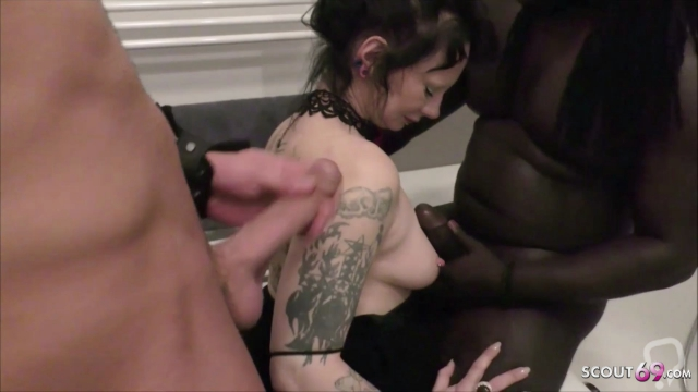 German Mature fuck two Friends of her Son on Toilet in 3some