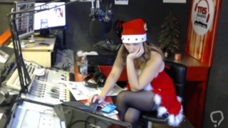 Italian Radio Presenter Stockings & Nip Slip