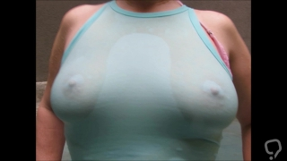 Wet blu tee shirt sexy tits hard pink nipples cute redhead