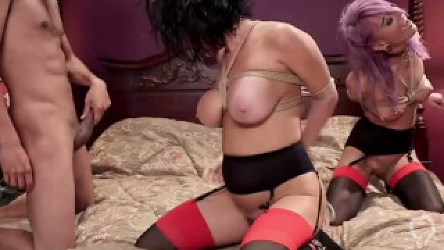 Interracial threesome anal and squirting