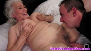 Hairy grandma banged deeply before titfucking