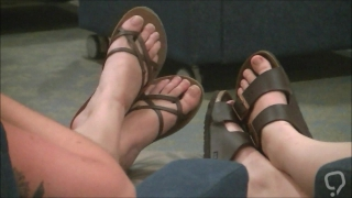 Two girls' feet at orientation