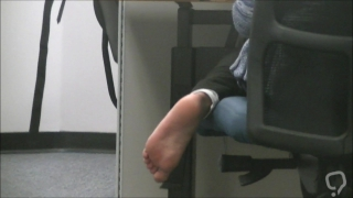 Cute Muslim girl barefoot soles in library